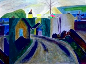 Dessin peinture la colombi re for Peinture pastel gras